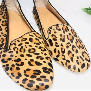 J CREW 8.5 leather cheetah print flats